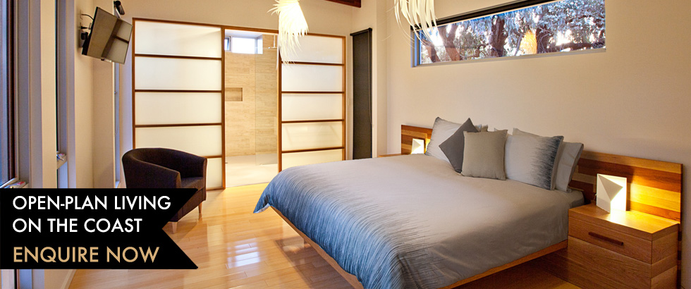Jimmy Smiths Dairy Fleurieu Peninsula luxury accommodation master bedroom layout.