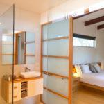 Jimmy Smiths Dairy luxury accommodation Port Elliot Fleurieu Peninsula master bedroom bathroom.